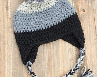 Baby Boy Pom Pom Hat, Oatmeal, Gray, Black Boy Earflap Hat