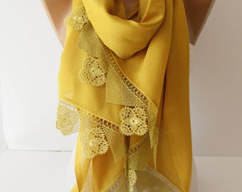 Mustard Yellow Lace Shawl Scarf Spring Scarf Summer Scarf Lace Shawl Scarf Cotton Scarf Fashion Women Accessories Gift For Her DIDUCI