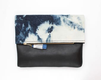 Dyed cotton clutch bag. Fold over clutch. Leather handbag. Statement purse. Hand colored. Simple daily purse.Blue and black handbag. /MIA 71