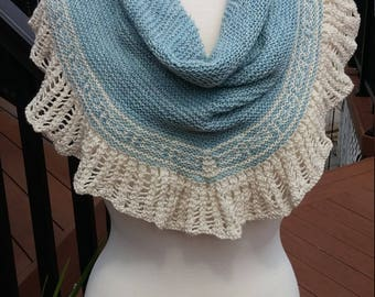Knit  Shawl with block details- Cream and Light Blue
