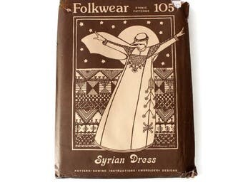 70s Folkwear Syrian dress pattern. Ethnic patterns. Sewing instructions. Embroidery design. Ample garment. Folk dress. Maxi dress.