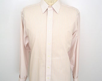 SALE! Brooks Brothers French Cuffs Dress Shirt // blue & orange pin stripe shirt / men's large