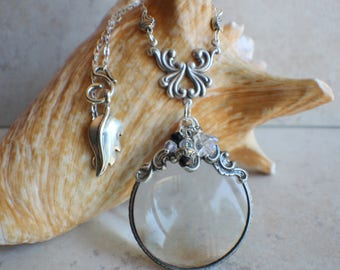 Magnifying Glass Necklace, Magnifying Glass Pendant, Victorian Pendant, Monocle Pendant, Victorinan Necklace, Magnifier, Magnifying Loupe
