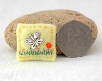 hand sewn butterfly brooch, mini butterfly pin, butterfly gifts, pretty ladies summer brooch, little lemon felt brooch, butterfly summer, UK
