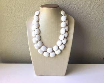 White Statement jewelry set, Chunky Beaded Necklace, white Jewelry, white Necklace, white beaded necklace, white and silver necklace, white
