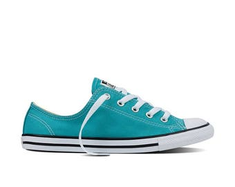 Custom Converse Dainty Teal Blue Turquoise Bridal Wedding Kicks w/ Swarovski Crystal Rhinestone Bling Chuck Taylor All Star Sneakers Shoes