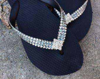 Super Bling Jewel Flip Flops Havaianas Flat or Wedge 1.5 Heel w/ Silver Gray Swarovski Crystal 3D Ice Cap Silver Wedding Beach Bridal Shoes