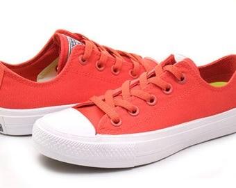 Red Converse Low Top Coral Chuck Taylor II Kicks Monochrome Fire Engine Bling Custom w/ Swarovski Crystal Rhinestone All Star Sneakers Shoes