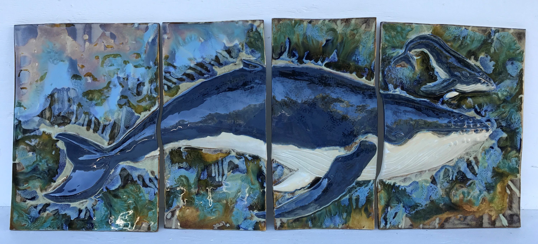 Whale Wall Décor, Whale Wall Art, Humpback Whale Art, Kitchen Tiles ...