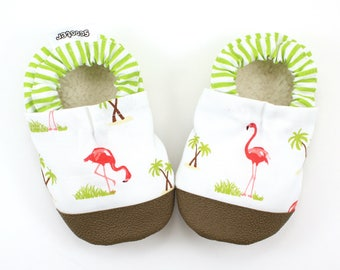 flamingo baby shoes pink and green baby shoes flamingo baby booties soft sole shoes flamingo baby clothing vegan baby shoes toddler shoes