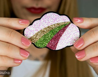 Glitter Brooch *Rainbow Cloud* - Badge| Pin