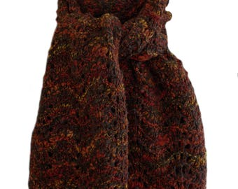 Hand Knit Scarf - Black Red Gold Hand Spun Wool Feather & Fan Lace