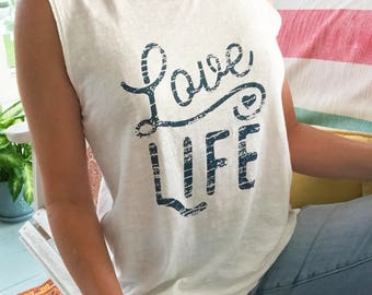 Love Life - White 100% Cotton Muscle Tee