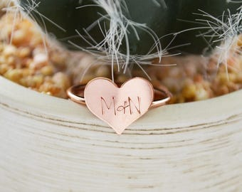 Rose Gold Heart Ring - Sweetheart Promise Ring - Initials Stackable Ring , Stacking - Christmas Gift for Her - Girlfriend Jewelry