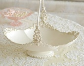 Beautiful Ornate Painted Metal Basket / Filigree / Cream and Gold / Decor
