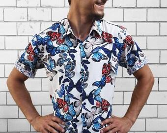 Mens Butterfly shirt, short sleeve - BAÏSAP
