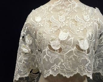 Light Ivory Embroidered Organza, Guipure Organza, Floral Lace, Embroidery, Floral Embroidery, Remnant Fabric, 3D Flower Lace, Vintage Lace