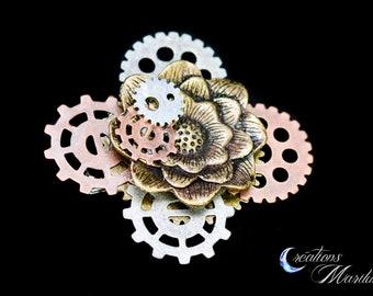 Steampunk, hair pin, hair clasp, brooch, pin, gearing, flower, victirian