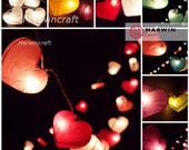 9 Colour Options LED Battery Operated or Plug in 20 Heart LANTERN Mulberry Paper Fairy String Lights Party Wedding Hanging Living Bedroom