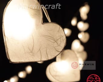 LED Battery Operated or Plug 20 White Heart LANTERN Mulberry Paper Fairy String Lights Party Wedding Floor Table Hanging Living Bedroom Gift
