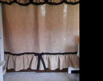 Burlap and Cotton Ruffled Shower Curtain CUSTOMIZABLE!