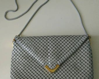Vintage La Regale Gray Mesh Bag With Serpentine Strap Made In Hong Kong