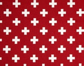 Reserved for Alisa - 1 yard Swiss Cross Lipstick Red White - Home Decor  - Premier Prints
