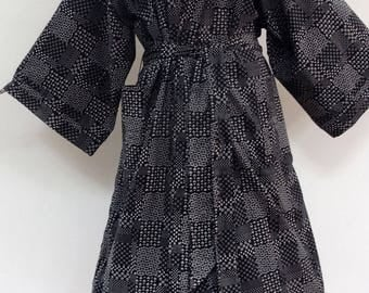 Kimono dressing gown, bathrobe, black and white cotton printed patchwork design