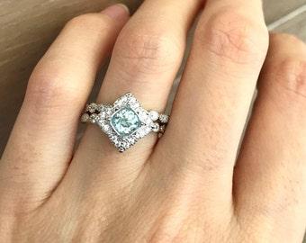 Aquamarine Ring Bridal Set Aquamarine Engagement Ring Set Alternative Wedding Set Ring Genuine Aquamarine Halo Engagement Set