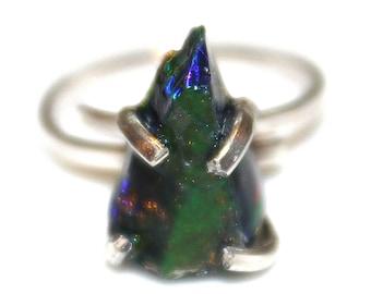 Black Opal Ring Raw Opal Ring Raw Opal Shard Ring Raw Stone Ring Green Fire Opal Jewelry Raw Black Opal Free Form Raw Opal Jewelry