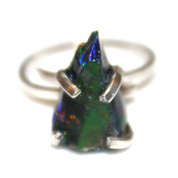 Raw Black Gold Opal Ring