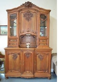 antique french hutch display cabinet french provincial. Black Bedroom Furniture Sets. Home Design Ideas
