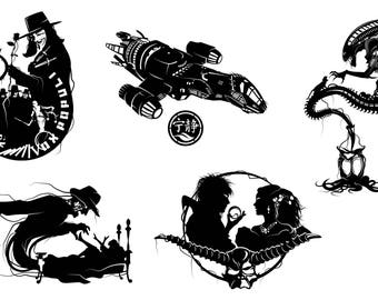 Prints of Will Pigg's Film & Television Silhouette Paper cuts on 100lb Stipple Paper see listing for designs available