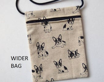 """Pouch Zip Bag FRENCH BULLDOG fabric cell phone pouch. small fabric purse Great for walkers, markets, travel body pouch. WIDER Bag 7 X 5.25"""""""