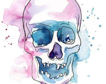 Skull Abstract Watercolor Painting Art Print Skull Artwork Skull Print Skull Illustration Colorful Skull Print Abstract Skulls