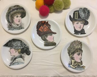 PORCELAINE de PARIS, VICTORIAN Ladies, Collectible Plates, Set of 5, Millinery, Victorian Millinery, Paris Apartment at Ageless Alchemy