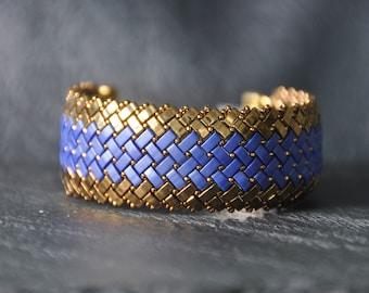 A Byzance, Gold and Blue Herringbone Half Tila beads Bracelet,  Reversible, Handmade, Beaded Cuff, Miyuki crystal beads
