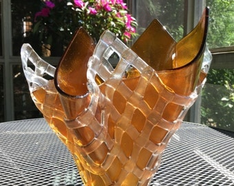 Fused Glass Vase, Iridescent Amber Gold with Layered Lattice Art Glass Vase, Iridescent Art Glass Sculpture