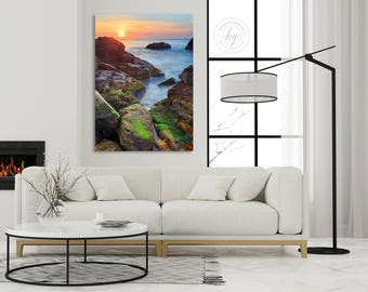 Coastal Sunrise, Vertical Seascape Metal Print, Metal Wall Art, Large Rhode Island Ocean Rocks Photography, Narragansett RI Photo Green Blue