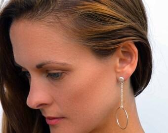 Dangle circle earrings, chain earrings, silver statement earrings, symbolic circle studs, stud earrings, dangly stud earrings