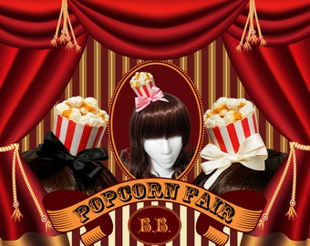 Mini Carnival Popcorn Bucket Hair Clip - 7 Bow Colors Available