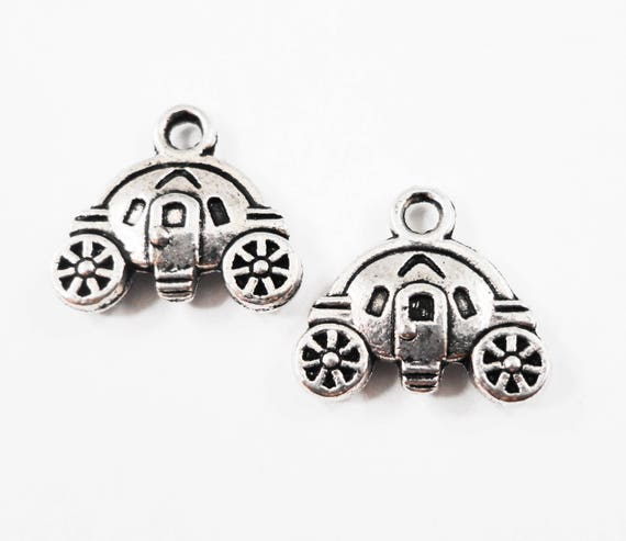 Pumpkin Carriage Charms 14x12mm Antique Silver Cinderella Charms, Fairy Tale Charms, Stagecoach Charms, Pumpkin Carriage Pendants, 10pcs