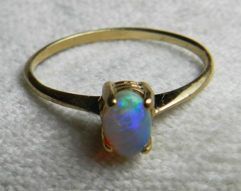 Blue Opal Ring Yellow Gold Opal Engagement Ring Opal Ring Unique Engagement Ring 10K October