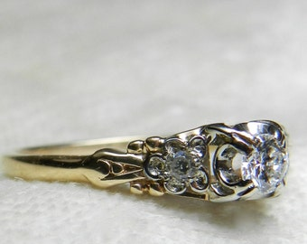vintage engagement ring 14k art deco vintage engagement ring old european cut transitional cut diamond - Old Wedding Rings