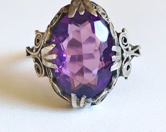 Antique Victorian Etruscan revival 800 silver cannetille filigree ring with amethyst colored glass size 7