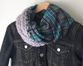 Flannel Scarf / Crochet Scarf / Infinity Scarf / Blanket Scarf / Gray Scarf / Blue Scarf / Black Scarf / Plaid Scarf