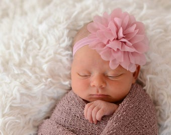 Dusty Rose Baby Headband, Dusty Rose Headband, Baby Headband, Infant Headband, Newborn Headband, Light Pink Chiffon Petal Flower