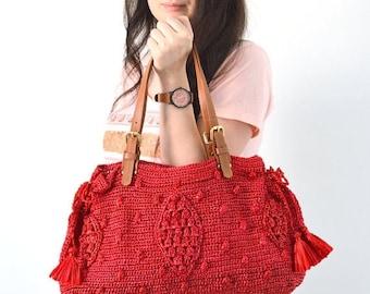 CLEARANCE SALE Gerard Darel Woodstock Raffia 24 hours Inspired Crochet Bag, Summer Purse, Straw Handbag, Raffia Straw Bag