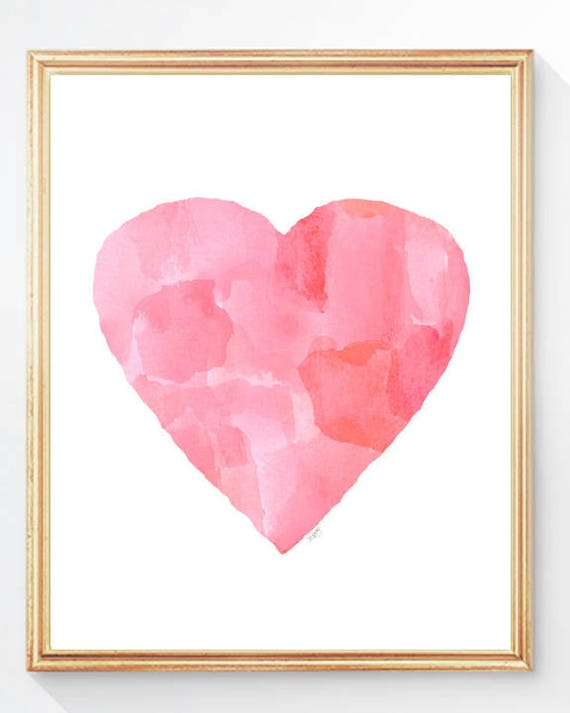 Abstract Nursery Art Print in Pink, 8x10 Watercolor