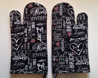 Kitchen Mitt, Bride, Chalkboard Print, Marriage, Wedding, Oven Mitts, Potholders, Hot Pad, Black and White